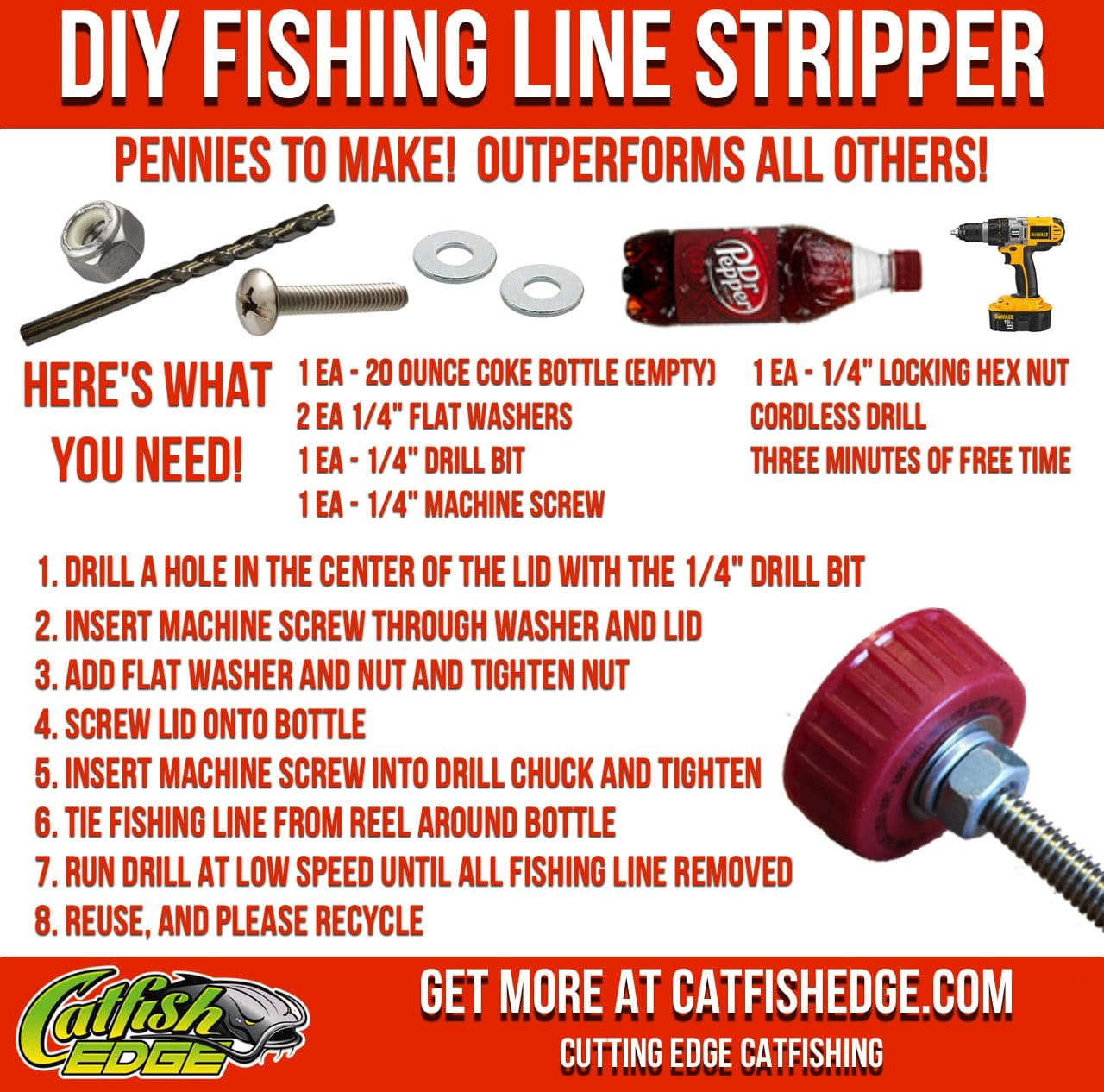 This diy fishing line stripping tool works better than all for Diy fishing line spooler